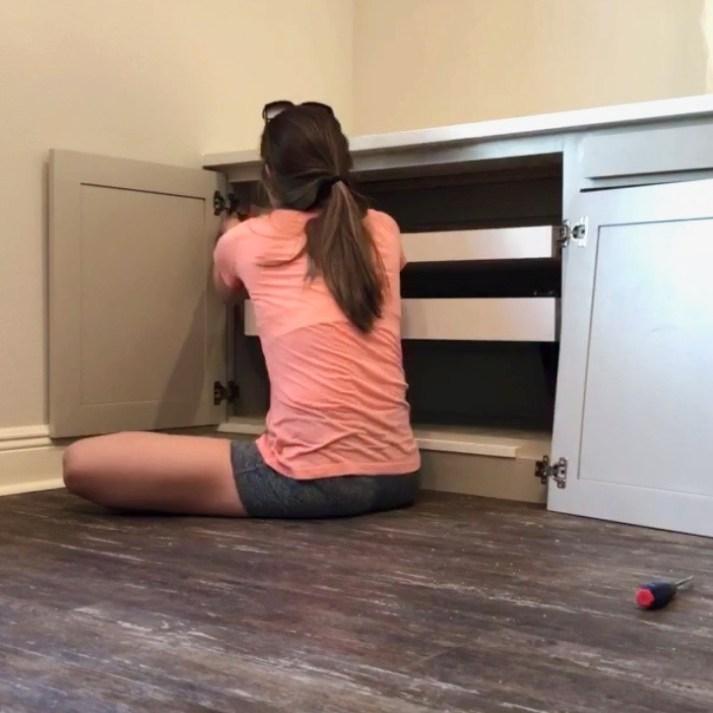 DIY office built-in desk with vibrating doors