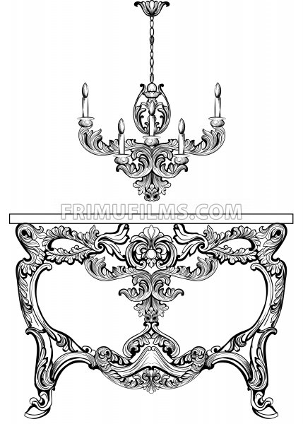 Exquisite Baroque console table engraved. Vector French