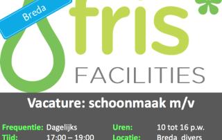 Vacature: Schoonmaakster kantoren Breda
