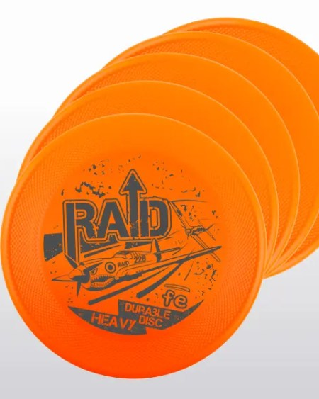 set-up 5 frisbee RAID FE arancione orange hard bite disc resistenza generazione 3