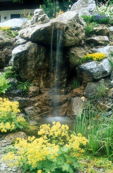 Schwimm Teich mit Wasserfall