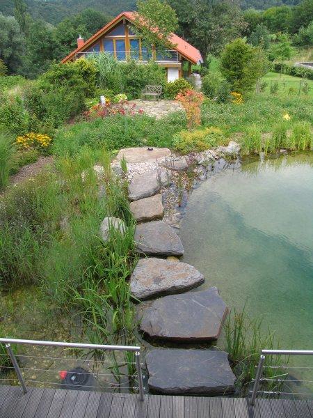 Schwimmteich mit Treppe EdelstahlWasserkaskaden und groer Holzterrasse