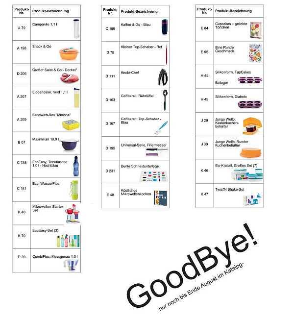 Diese Produkte verlassen uns im September!