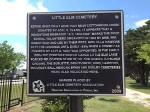 Little Elm Cemetery Marker