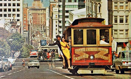 cable car postcard from 1960s
