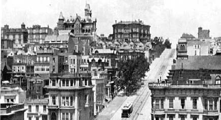 nob hill, 1902, with leland stanford and mark hopkins mansions