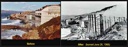 sutro baths, san francisco, before and after their destruction in 1966