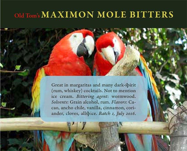 Old Tom's Maximon Mole Bitters woozy bottle label