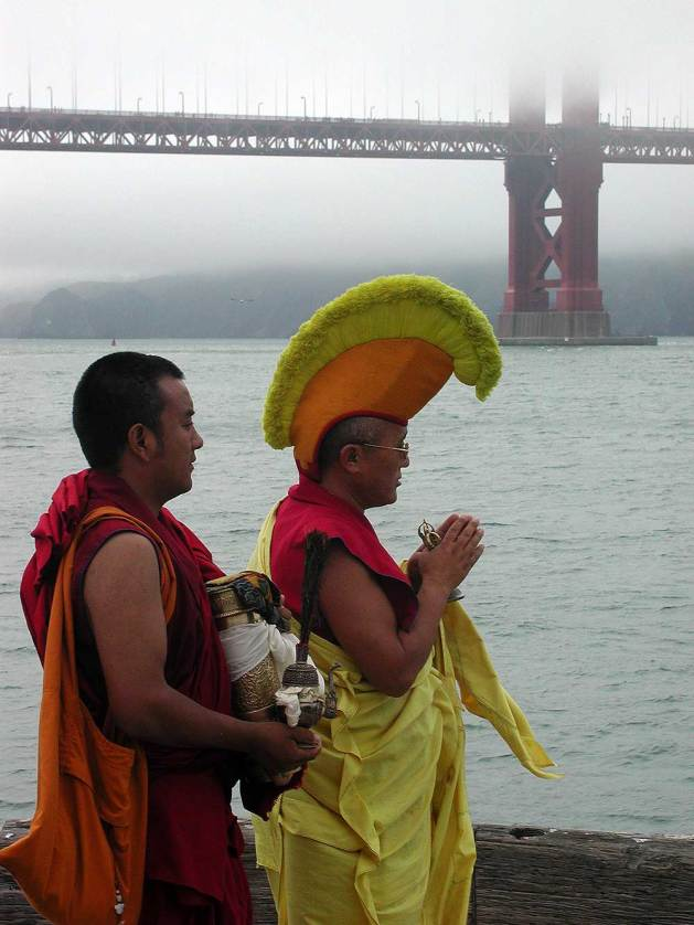 Buddhist monks perform a ritual at the Golden Gate Bridge