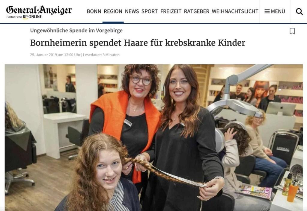 Haare Spenden in Bonn - Friseur Marcel Michels - General Anzeiger Bonn