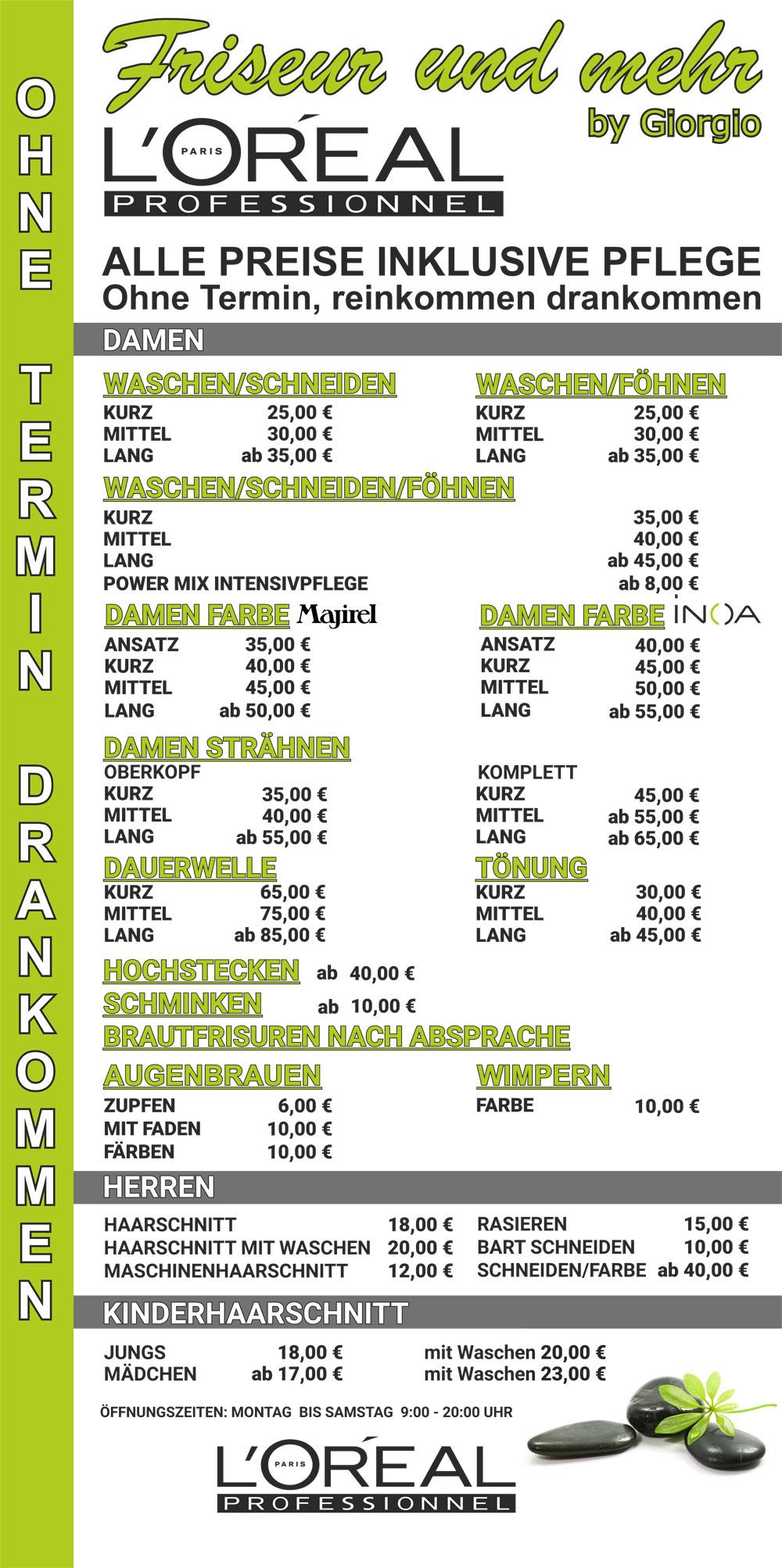 Friseur und mehr in Schwabach Preisliste