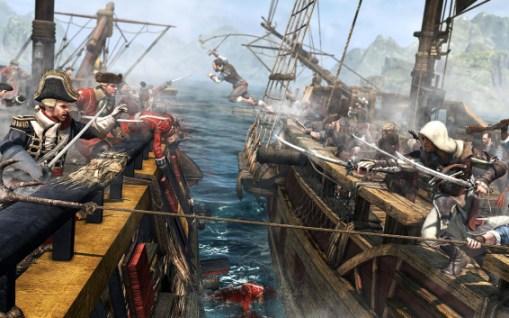 Schiffe entern auf hoher See.