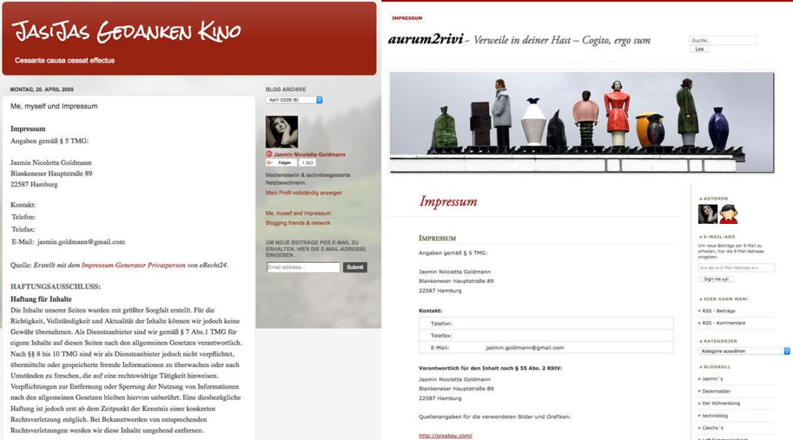 Impressen der Blogs JasiJas Gedanken Kino und aurum2rivi