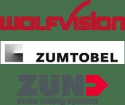 Logo Wolfvision, Zumtobel, Zünd