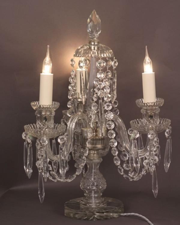 3 Branch Crystal Candelabra Table Lamp Antique Lighting