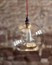 Clear Glass Globe Ceiling Pendant Light, Hereford Retro ...