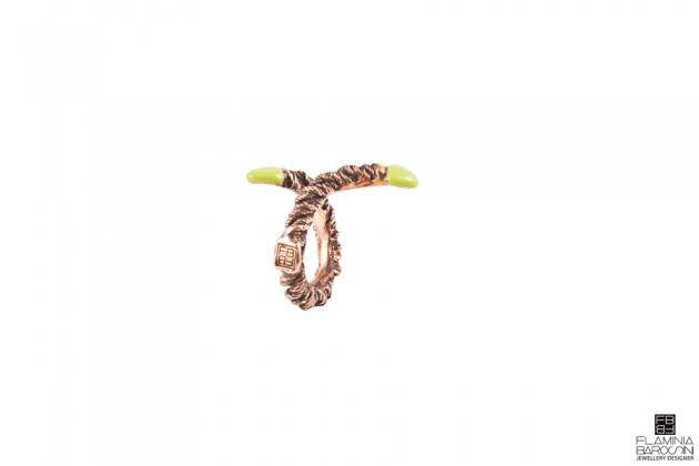 anello mini clematide smalto verde