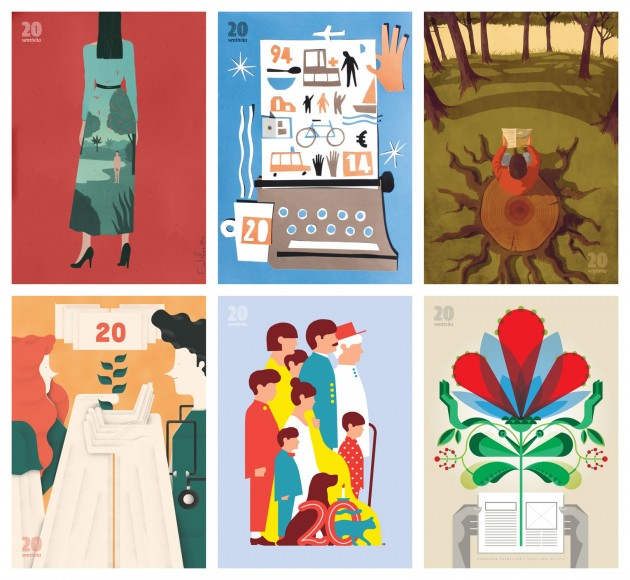 i poster di VentiVita   in alto, da sinistra: Emiliano Ponzi (giugno 2014), Giovanni Pastori (maggio 2014), Giordano Poloni (aprile 2014); in basso, da sinistra: Sergio Membrillas (marzo 2014), Giacomo Bagnara (febbraio 2014), Francesco Poroli (gennaio 2014)   courtesy Matteo Riva