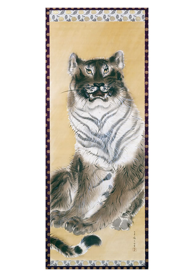 """Kishi Chikudō (1826-1897), """"Majestic seated tiger"""", 1865, ink and color on silk"""