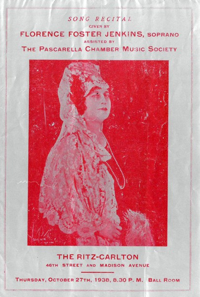 Program for a 1938 Florence Foster Jenkins performance, via the New York Public Library.