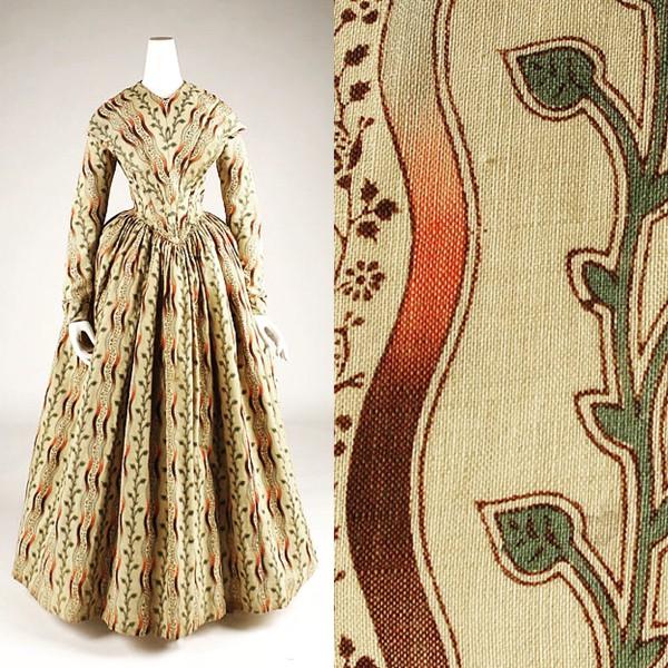 1845, yellow cotton dress, Metropolitan Museum of Art.