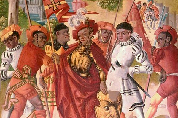 1520, Saint Maurice and His Companions; Adoration of the Magi, detail. From Medieval People in European Art Tumblr.