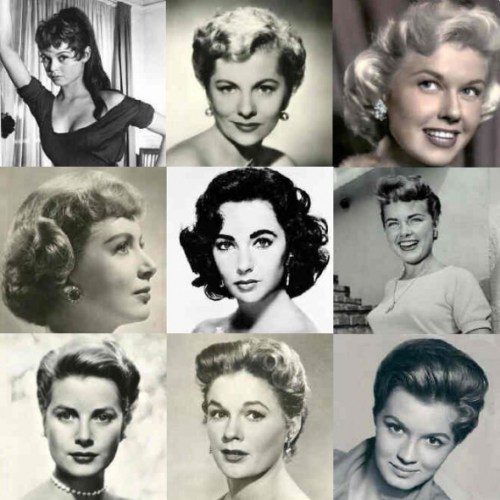 A variety of 1950s hairstyles -- note the hair is usually chin-length, or worn up.