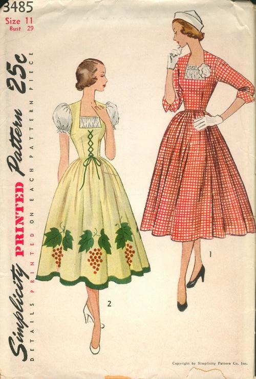 1950s dirndl pattern (Simplicity 3485)