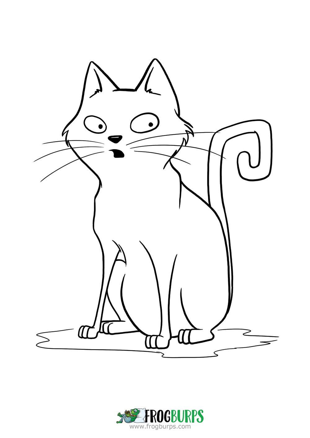 Spooked Cat | Coloring Page