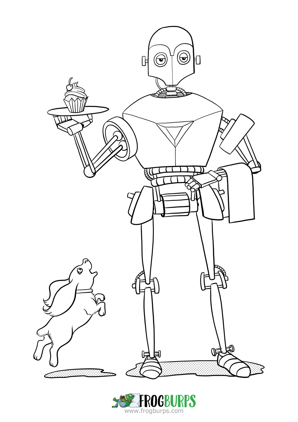Cupcake Robot by Frogburps | Coloring Page