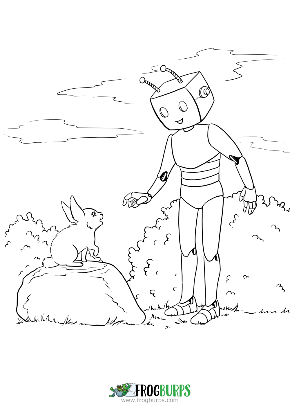 Robot & Rabbit coloring page