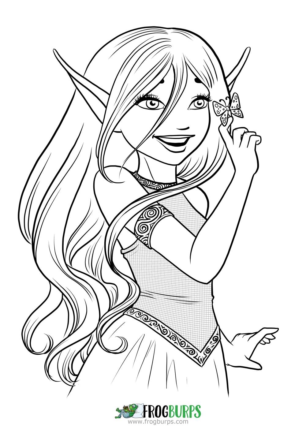 Butterfly Elf | Coloring Page