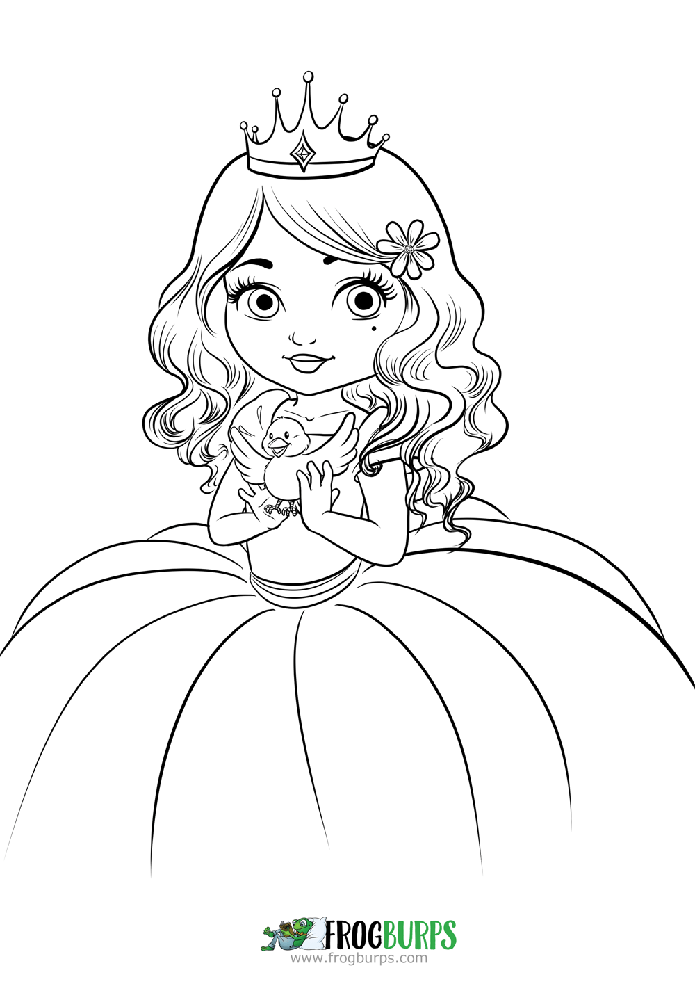 Princess and bird | Coloring Page
