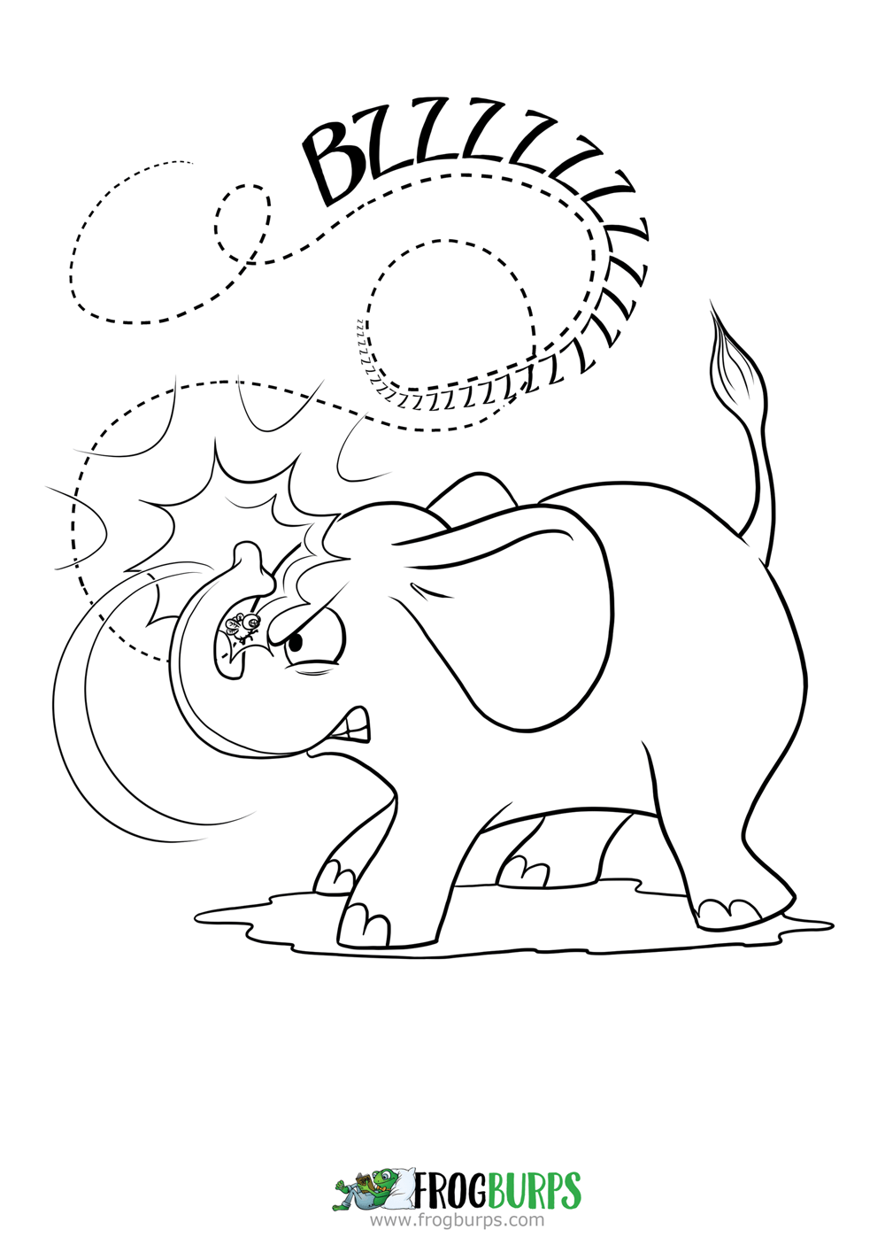Elephant Overreacts | Coloring Page