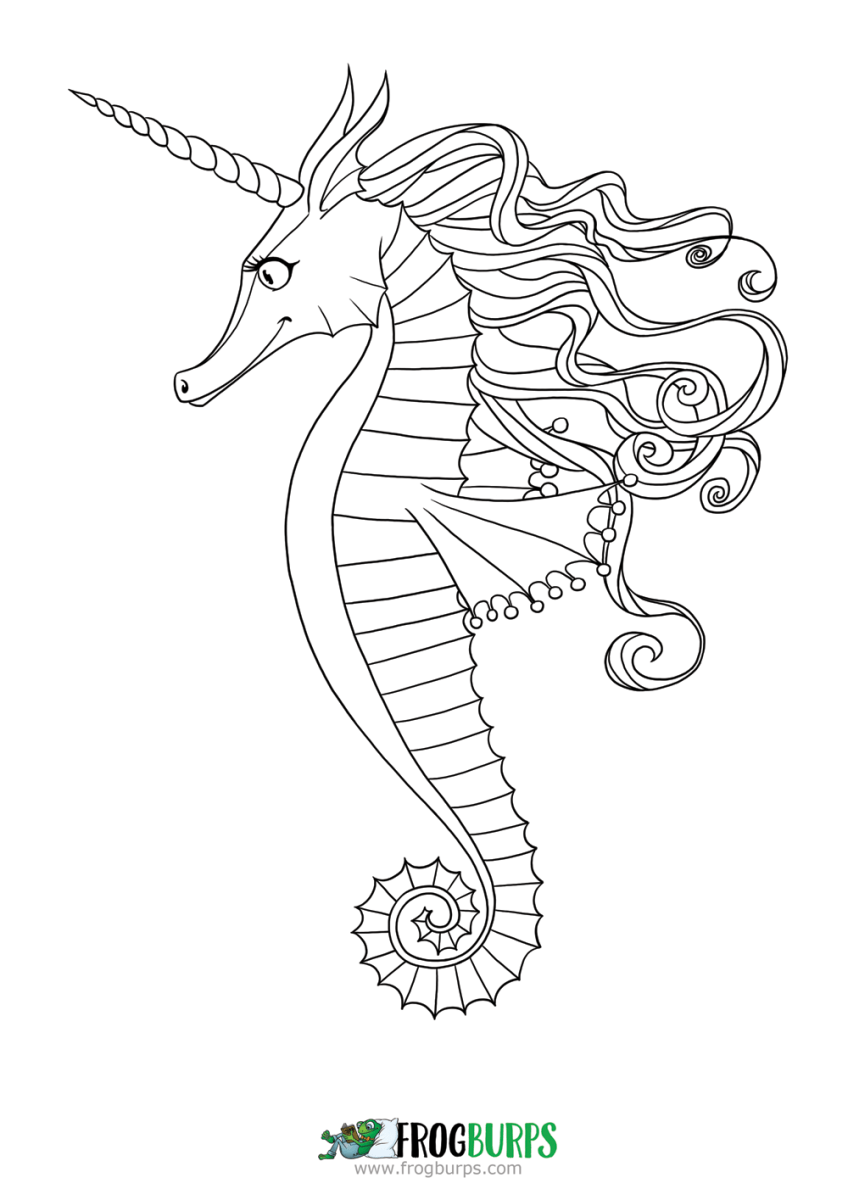 Coloring pages seahorse ~ Seahorse | Coloring Page | Frogburps
