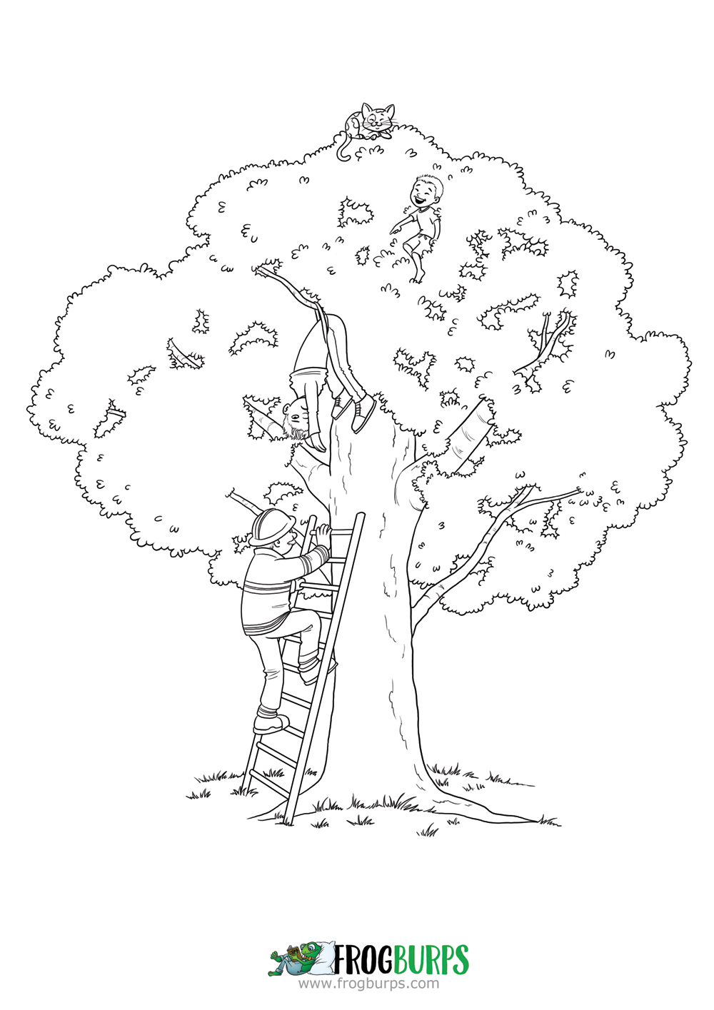 Up a Tree | Coloring Page