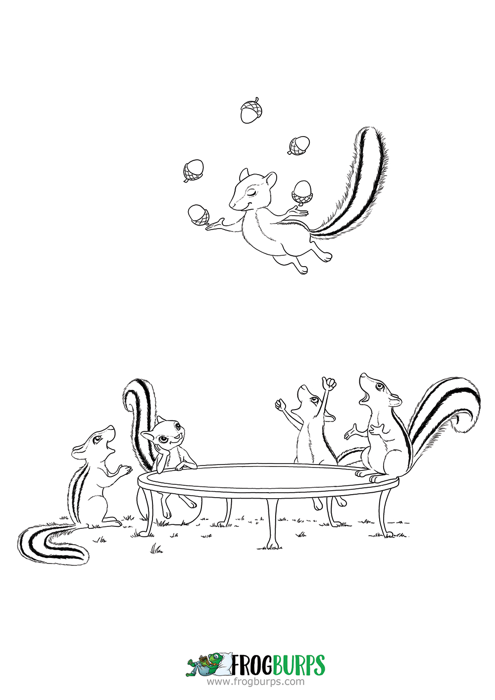 Chipmunk Trampoline | Coloring Page