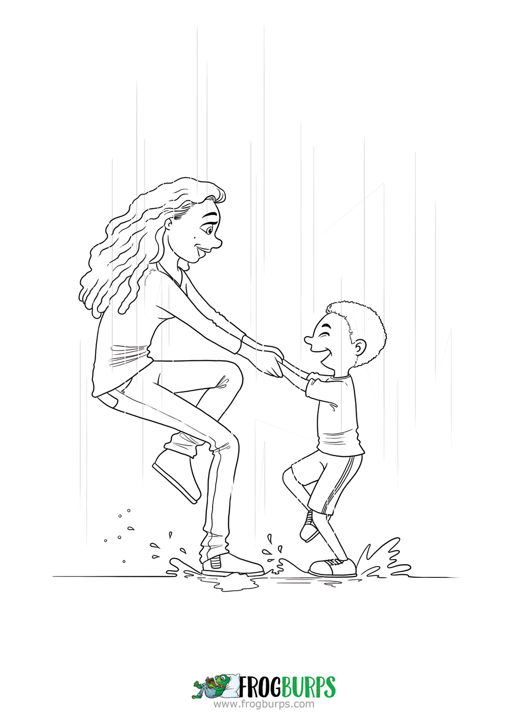Playing in the Rain | Coloring Page