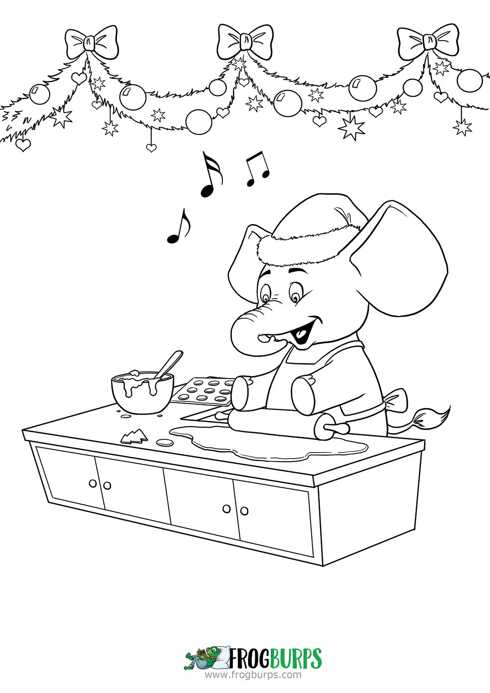 Elephant baking | Coloring Page