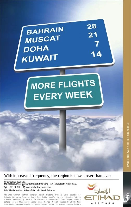 roadsign concept for Etihad airways