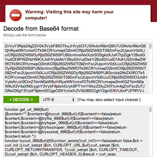 WordPress Malware Base64
