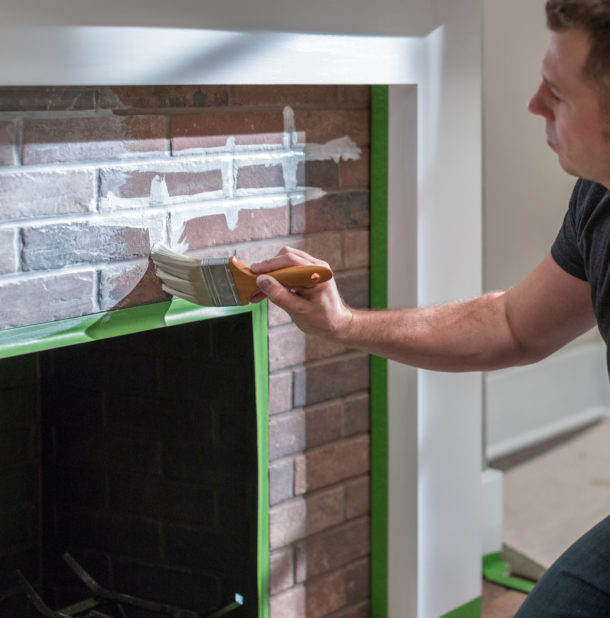 How to Paint a Brick Fireplace with Whitewash  FrogTape  FrogTape