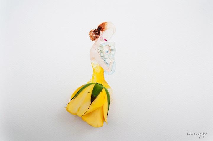 Diseos de vestidos con ptalos de flores por Lim Z