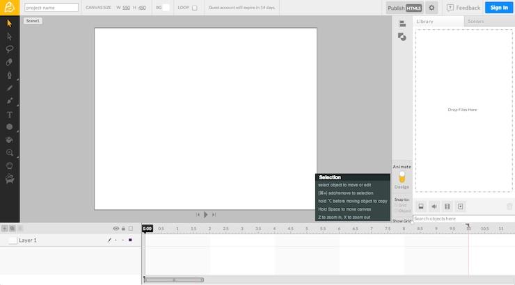 animator editor Animator, aplicación para crear animaciones HTML5
