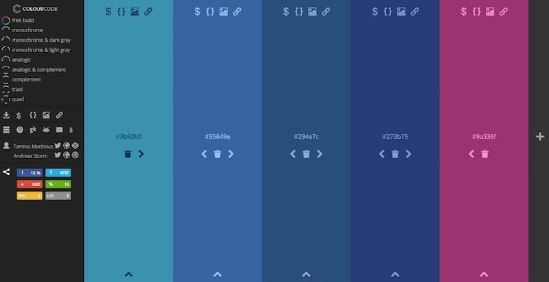 Colourcode un generador de paletas de color en linea