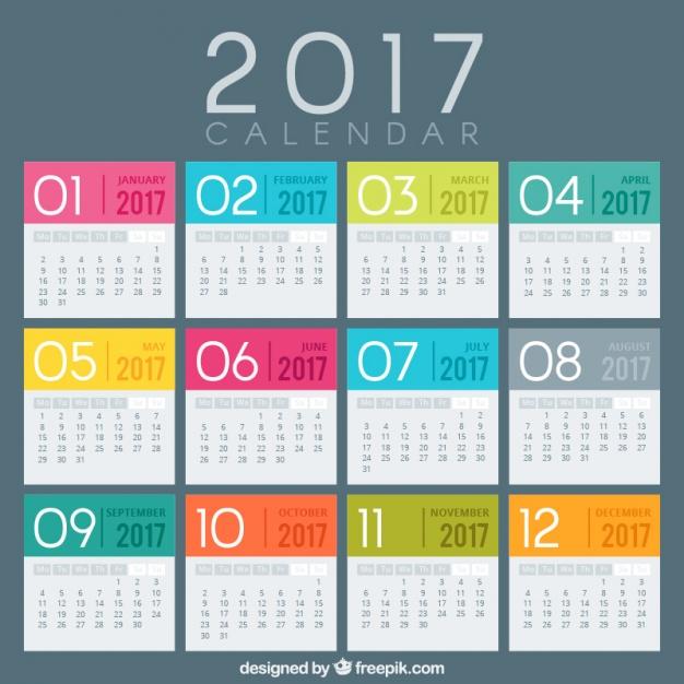 Creativos calendarios 2017 vectores gratis para inic  Frogx Three