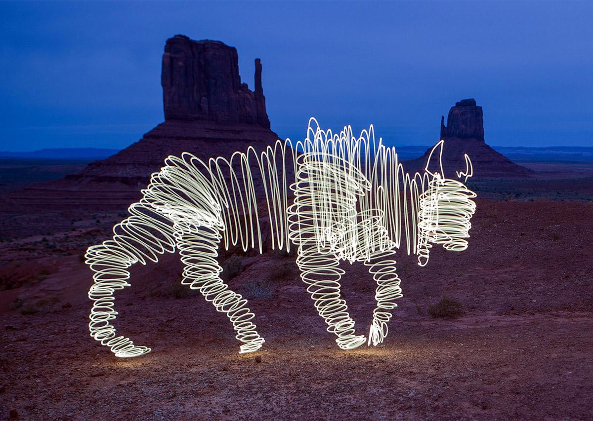 Animal Light Paintings esculturas de lumnicas por