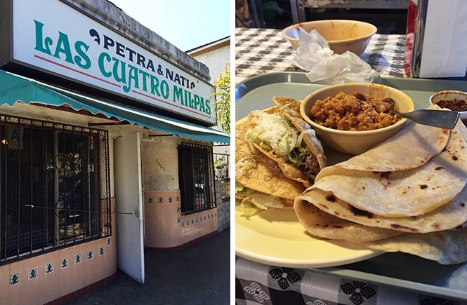 Las Cuatro Milpas restaurant front and a plate of handmade shredded beef tacos, tortillas, chorizo, and beans on a checkered tablecloth.