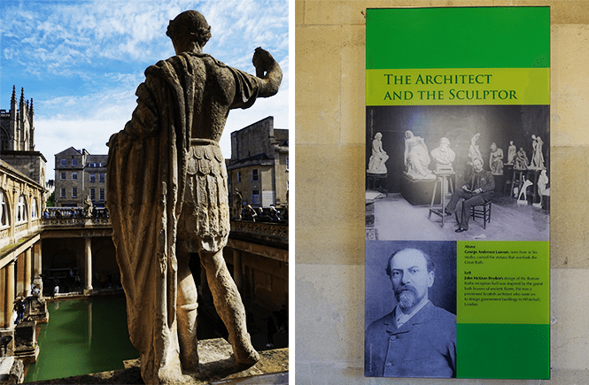 Two photos. On the left is a sculpture showing the back of an ancient roman. On the right is a sign explaining the sculptures were added in the late 18th/19th century.