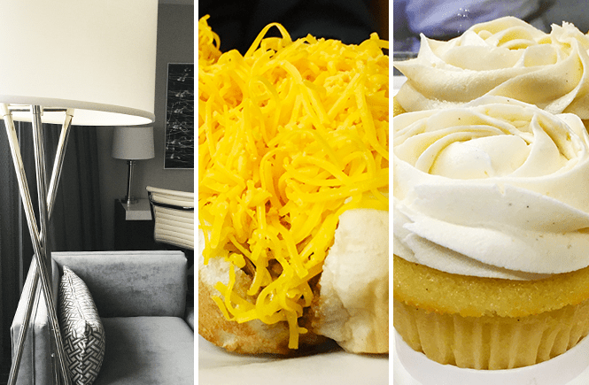 Photo of three images taken in Cincinnati, Ohio: a hotel couch and lamp stand, chili cheese hotdog, and a vanilla cupcake. Frolic & Courage.